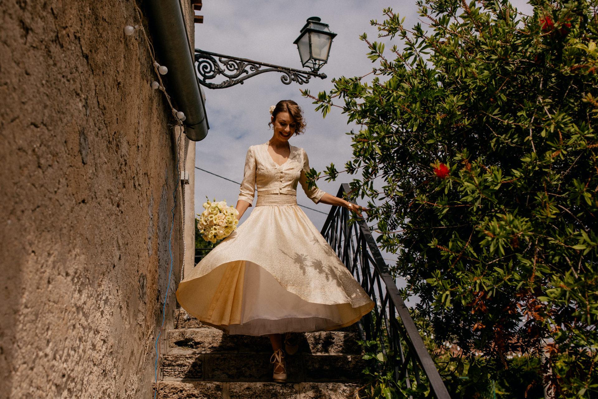 Hochzeitsfotograf Amalfi Küste-heiraten Italien-Paestum Hochzeit-50er Jahre Brautkleid