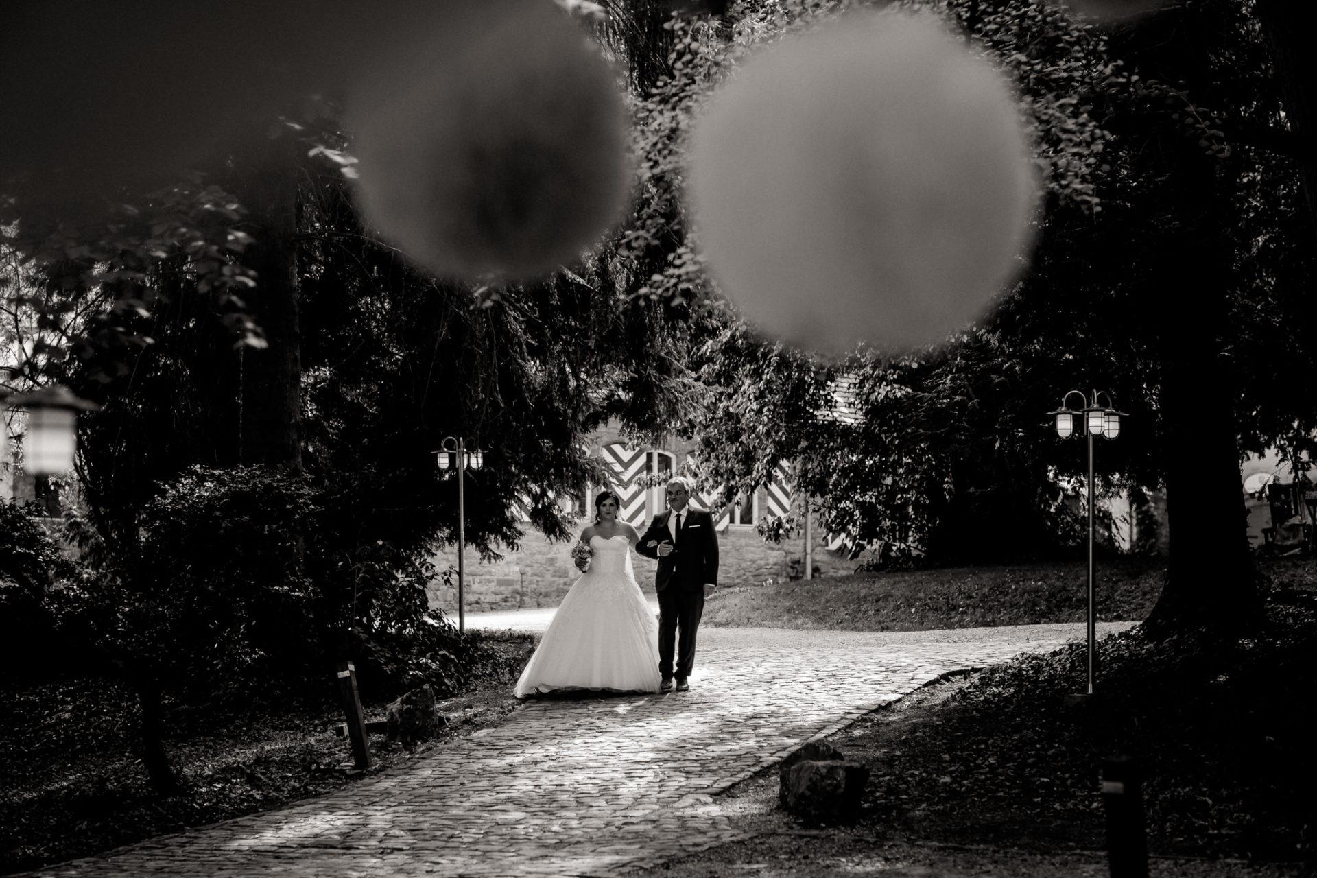 hochzeitsfotograf schloss heinsheim-elegant heiraten-Schafstall Heinsheim-Natürliche Portraits-Umgestellte Hochzeitsbilder-Freie Trauung-Vater führt Braut