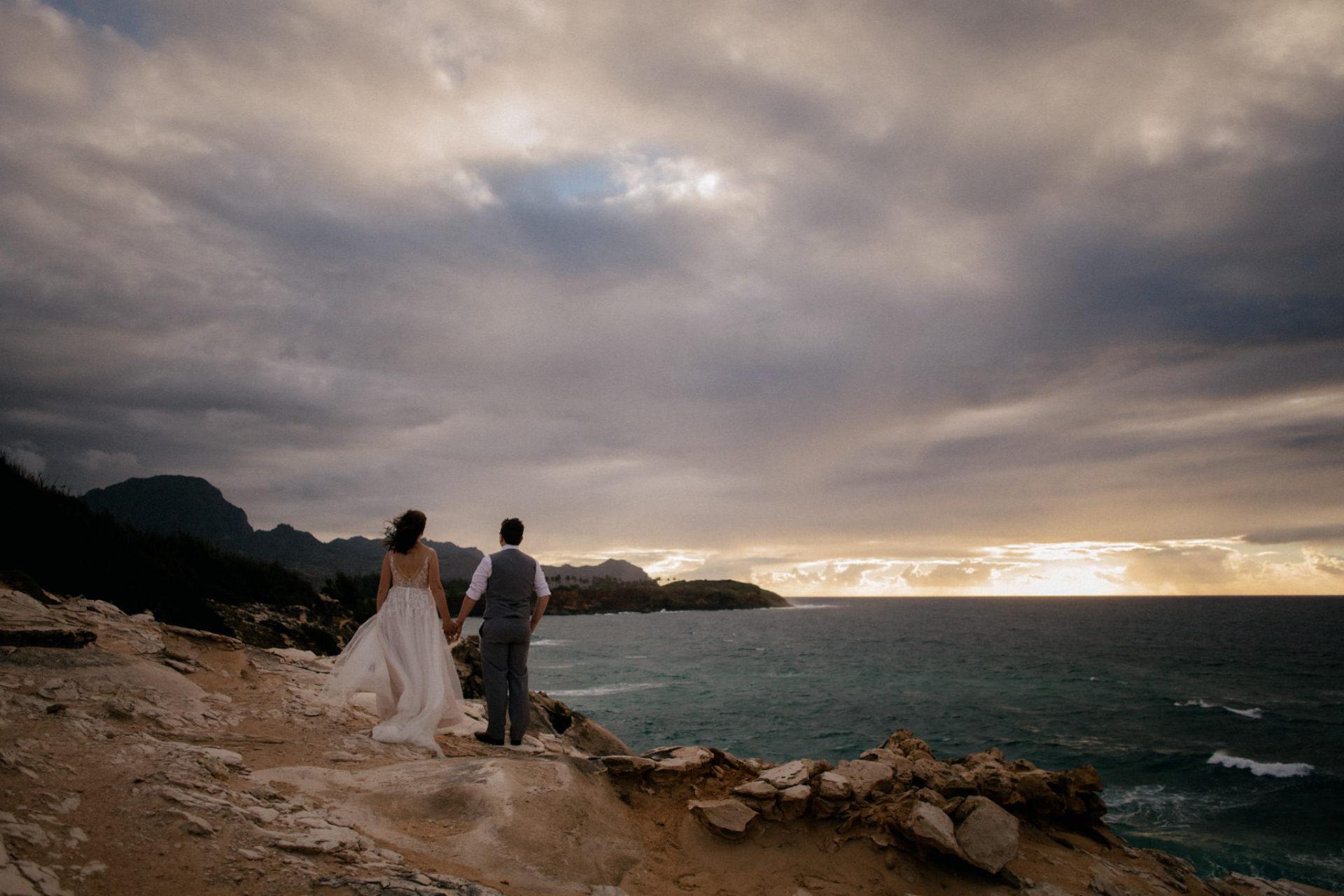 Hawaii Hochzeit-destination wedding kauai-Strandhochzeit-Brautpaar Portraits