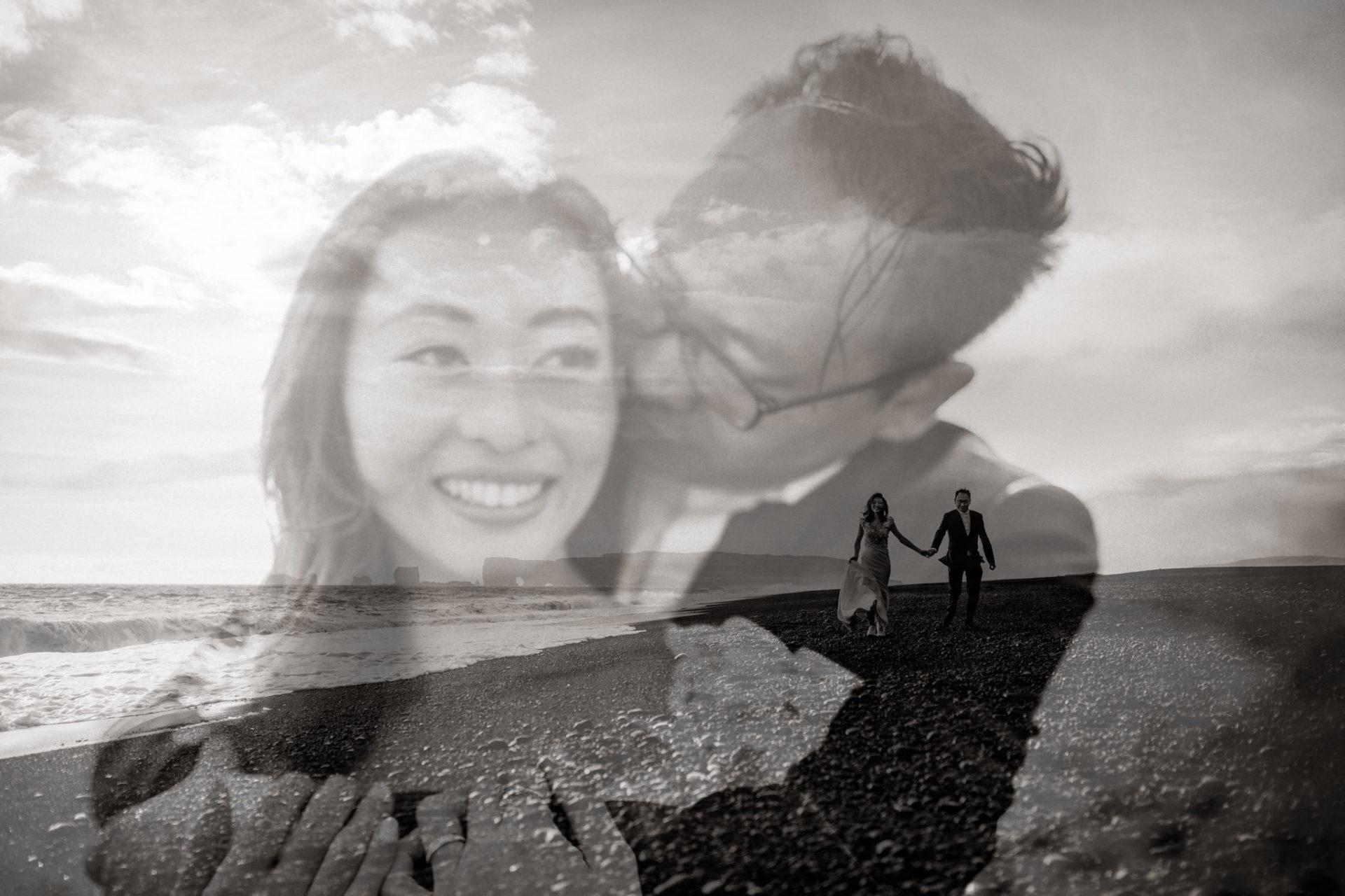 Verlobungsfotos-Island-Abeuteuer-Foto-Session-Nahaufnahme-Paar-Am-Schwarzen-Strand-doppelbelichtung